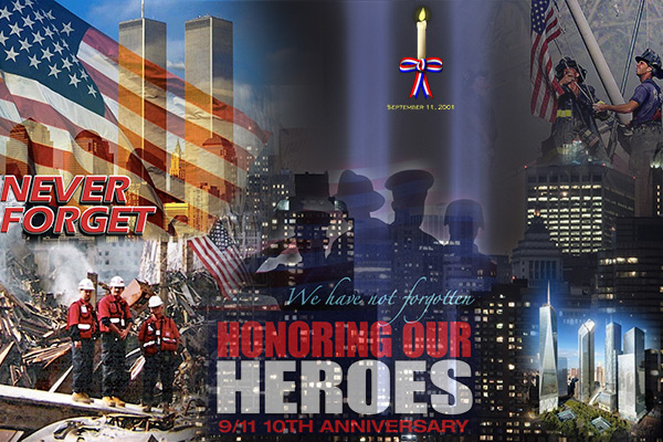 9/11 Tenth Anniversary Remembrance Art - NEVER FORGET
